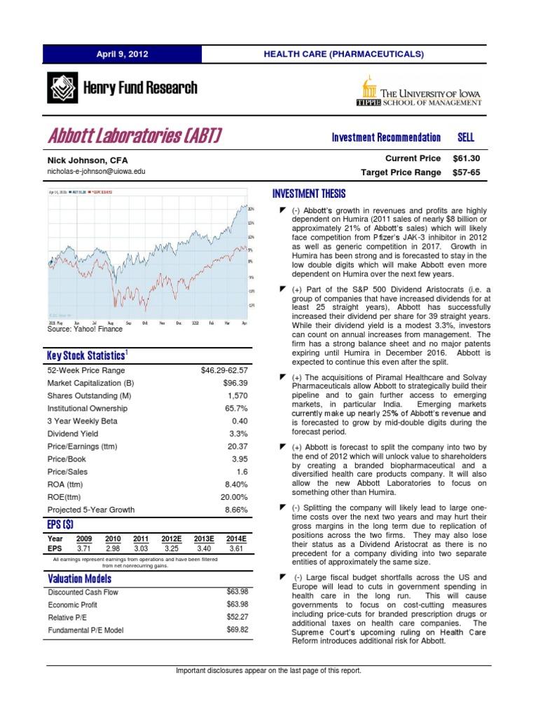 abt_sp12 | Abbott Laboratories | Pharmaceutical Drug