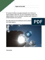 Como Esterilizar El Agua Con Luz Solar