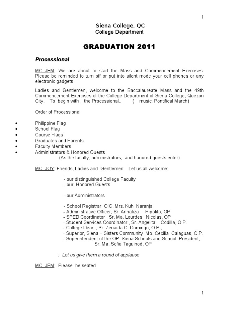 Sample Emcee Script For Moving Up Ceremony Fasrmyweb