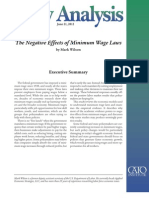 The Negative Effects of Minimum Wage Laws, Cato Policy Analysis No. 701