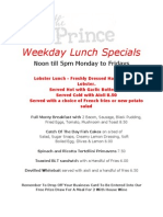 Example of Weekday Specials