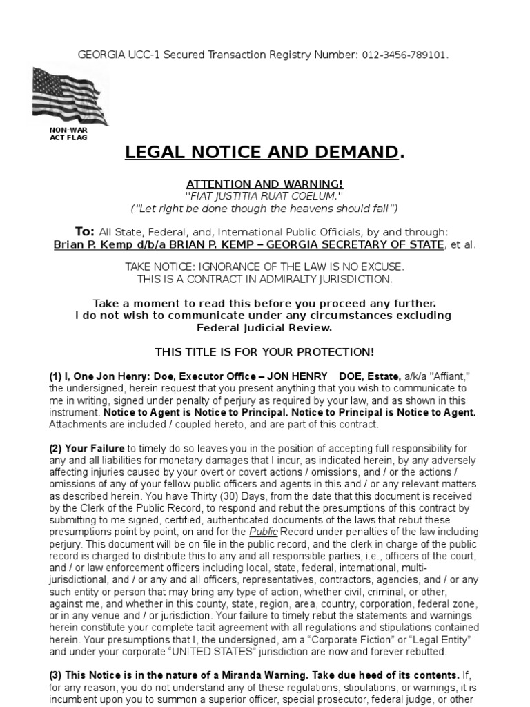 Legal Notice And Demand Template Notary Public Law Of Agency