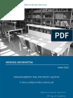 Memoria Departamento Proyecto Lector y Biblioteca Escolar 2011-12