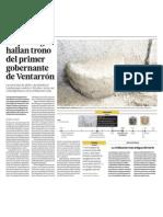 Arqueologos descubren trono de Ventarrón Perú
