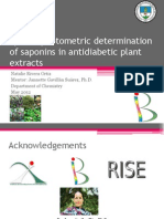 Spectrophotometric determination of saponins in antidiabetic plant extracts. Natalie Rivera. Mentor(a)