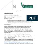 Bioethics Defense Fund & Life Legal Defense Foundation Letter to HHS Regarding Affordable Care Act