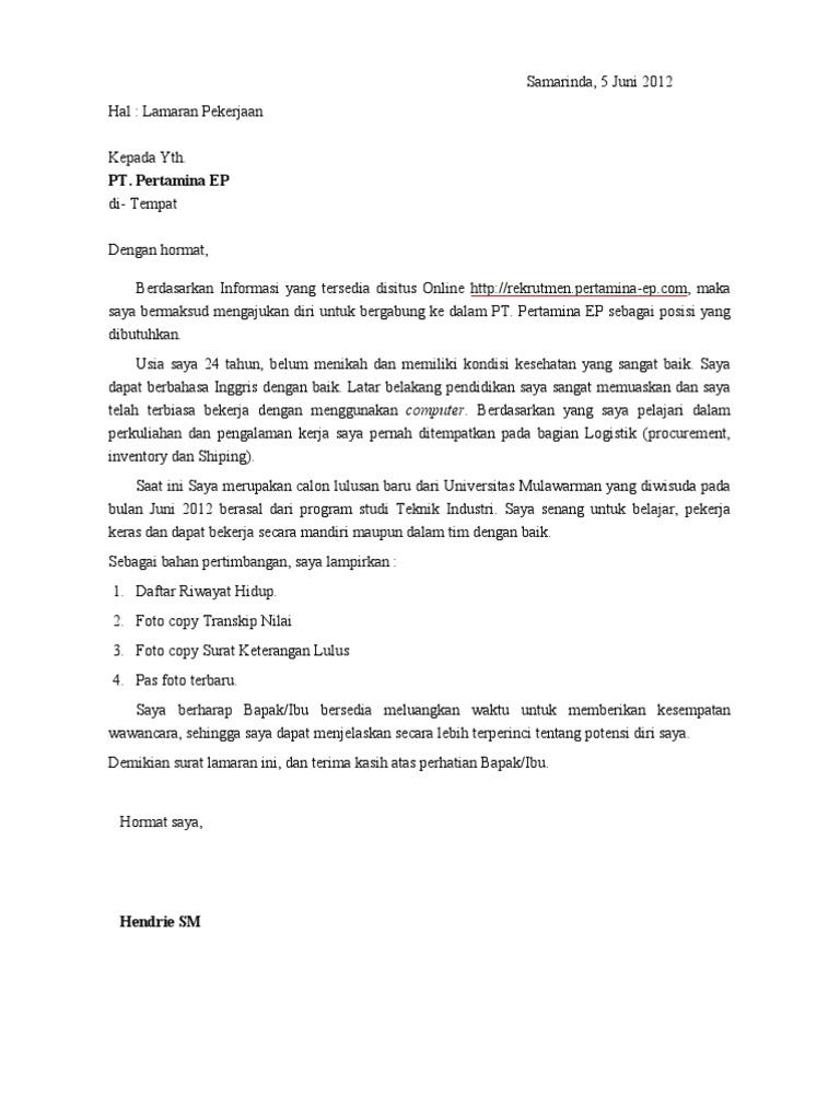 Download Contoh Surat Lamaran Kerja Pt Pertamina Download