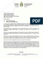 Letter to the Defence Minister (evidence from the Langridge military hearing)