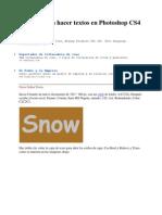 Tutorial Para Hacer Textos en Photoshop CS4