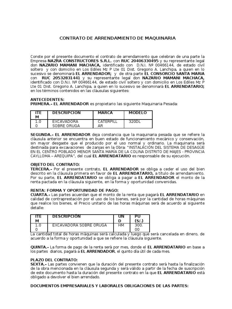 Modelo Contrato De Arriendo Casa Chile Contrato de arrendamiento ...