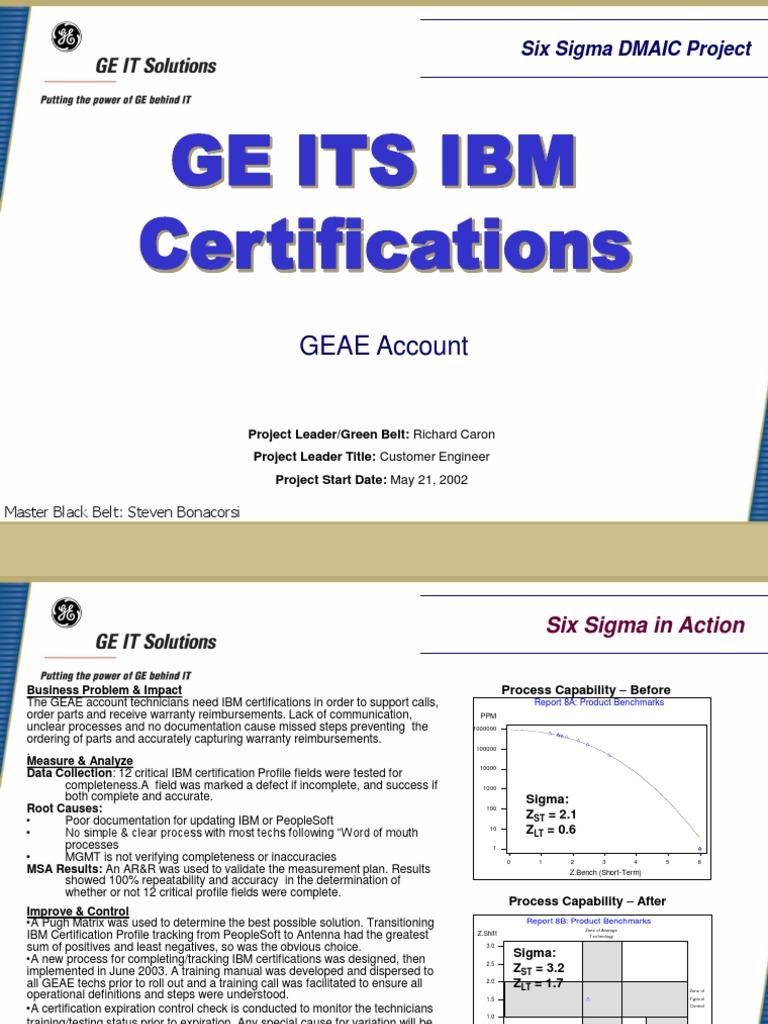 Certification Process Six Sigma Case Study