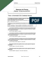 Resumen prensa CEU-UCH 19-06-2012