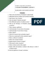 Mech 1mark Questionsdynamics
