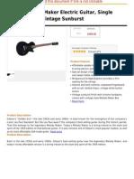 Gibson Melody Maker Electric Guitar, Single Pick-Up, Satin Vintage Sunburst