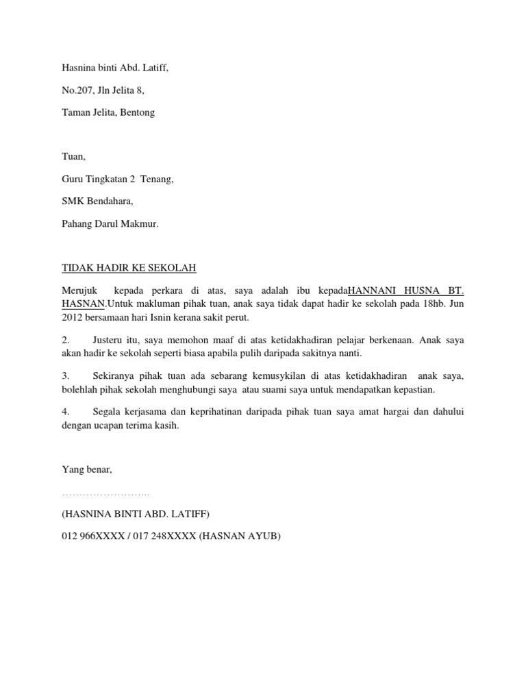 Contoh Surat Rasmi Makluman Ketidakhadiran Ke Sekolah