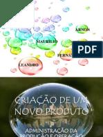CRIAÇÃO DE UM PRODUTO
