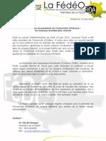 19 octobre 2012 - Réélection du Président de l'Université d'Orléans