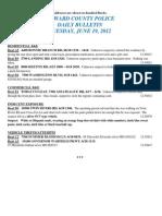 Police Daily Crime Bulletin 20120619