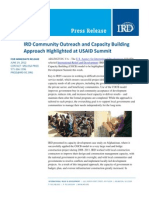 06-19 IRD Community Outreach and Capacity Building Approach Highlighted at USAID Summit