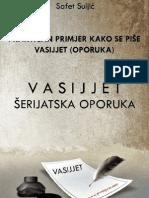 Praktičan primjer kako se piše Vasijet oporuka