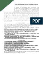 Entrevistas y Analisis sobre la propuesta curricular y el diseño curricular