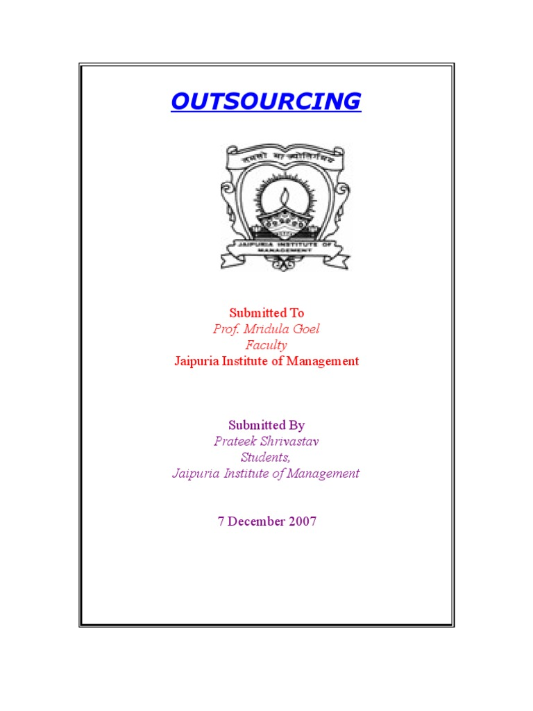 Master thesis on outsourcing