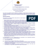 Convocatoria al Proceso de admisión Residencia Médica 2009 CNIDAI Bolivia