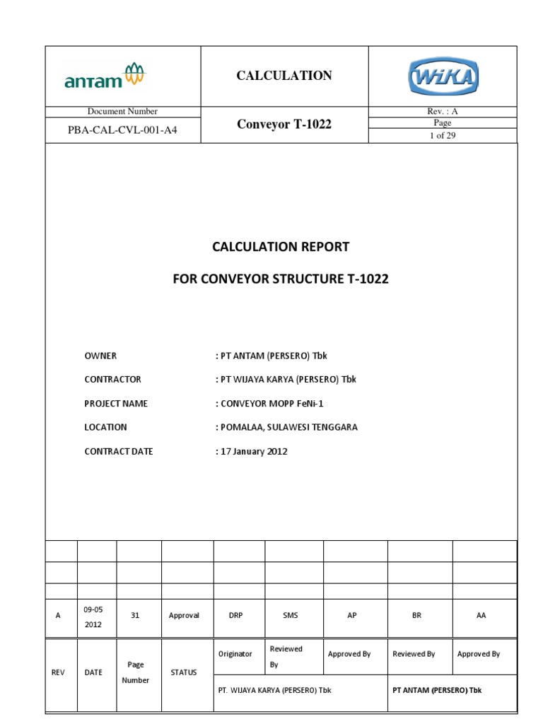 0000001743-Calculation Report Conveyor Structure T-1022 | Truss |  Structural Load