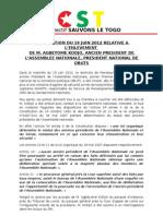 CST - Déclaration du 19 Juin sur l'enlèvement d'AGBEYOME Kodjo