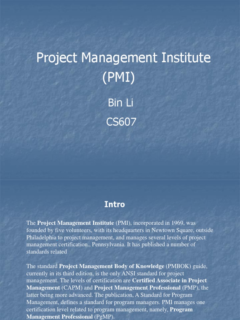 Pmi Project Management Professional Certification