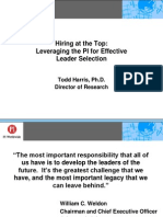 Hiring at the Top - Leveraging the PI for Effective Leader Selection