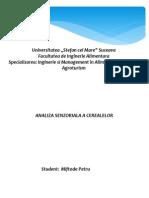 Analiza Senzoriala a Cerealelor Power Point