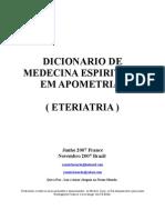 Apometria Portugues Dicionario de Medicina Espiritual Primeira Edicao