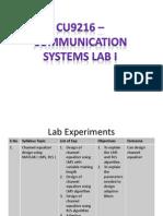 CU9216 – COMMUNICATION SYSTEMS LAB I