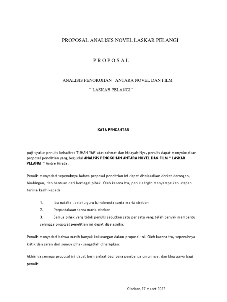 Proposal Analisis Novel Laskar Pelangi Antonius Yuda