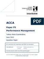 ACCA F5 Tuition Mock June 2012 QUESTIONS Version 3 FINAL at 23rd April 2012