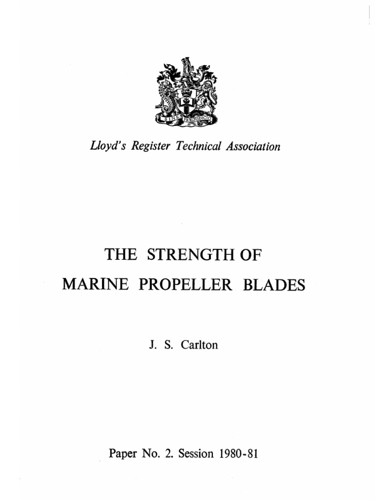 Strength Of Marine Propeller Blades Cantilever Diagram Registration To The Pdf