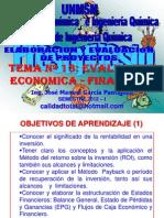ELABORACION Y EVALUACION DE PROYECTOS  - CLASE Nº 13