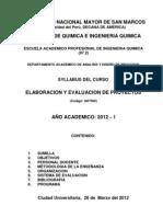 SYLABUS DE ELABORACION Y EVALUACION DE PROYECTOS