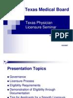 Texas Physician Li Censure Seminar