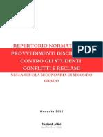 Repertorio normativo su provvedimenti disciplinari, conflitti e reclami