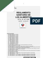 Reglamento Sanitario de Los Alimentos - Actualizado Junio 2010