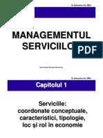 Mng Serviciilor - Serviciile - coordonate conceptuale, caracteristici, tipologie, loc si rol in economie