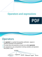 Operators and expressions,control structures in C