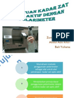 Penentuan Kadar Zat Optis Aktif Dengan Polarimeter