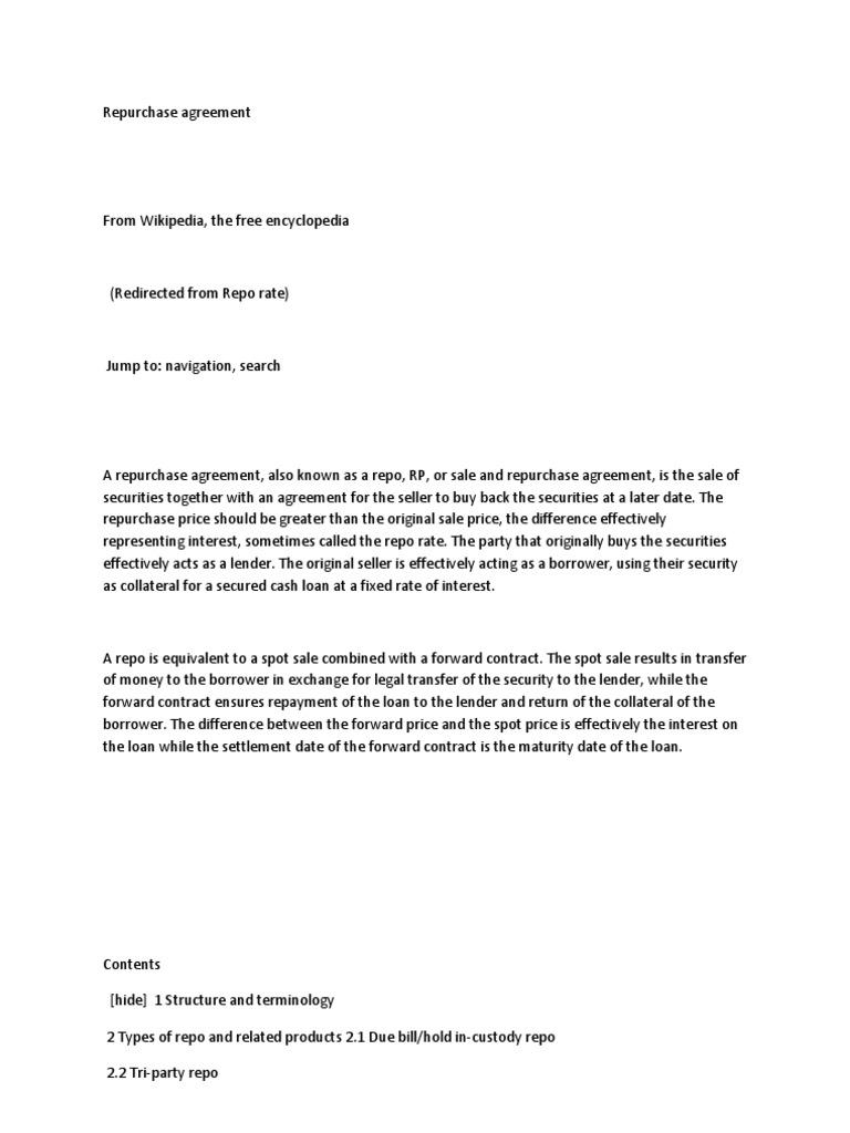 Repurchase Agreement Repurchase Agreement Securities Finance