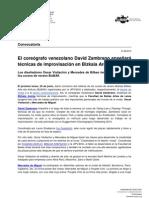 El coreógrafo venezolano David Zambrano enseñará técnicas de improvisación en Bizkaia Aretoa