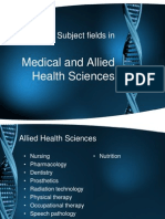 Subject Fields in Medical and Allied Health Sciences