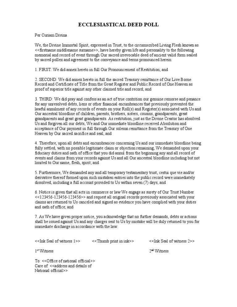 Ecclesiastical deed poll pdf free printable