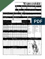 Warhammer Fantasy Roleplay - Character Sheet